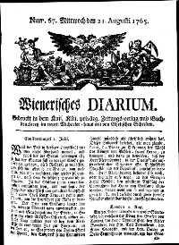 Titelseite der Ausgabe Nr. 67, 21. August 1765