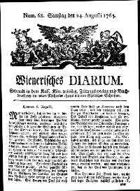 Titelseite der Ausgabe Nr. 68, 24. August 1765