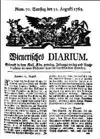 Titelseite der Ausgabe Nr. 70, 31. August 1765
