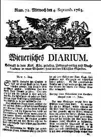 Titelseite der Ausgabe Nr. 71, 4. September 1765