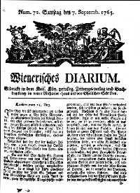 Titelseite der Ausgabe Nr. 72, 7. September 1765