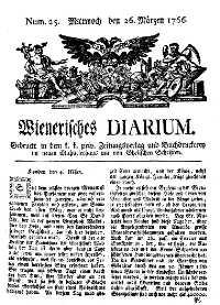 Titelseite der Ausgabe Nr. 25, 26. März 1766