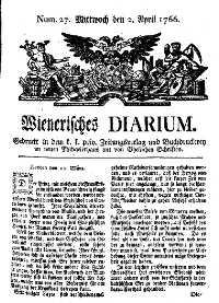 Titelseite der Ausgabe Nr. 27, 2. April 1766