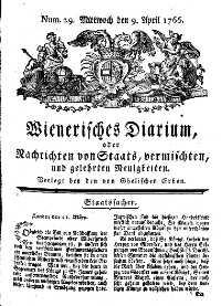 Titelseite der Ausgabe Nr. 29, 9. April 1766