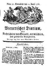 Titelseite der Ausgabe Nr. 30, 12. April 1766