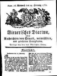 Titelseite der Ausgabe Nr. 16, 24. Februar 1768
