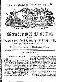 Titelseite der Ausgabe Nr. 17, 27. Februar 1768