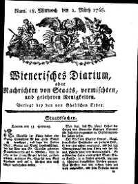 Titelseite der Ausgabe Nr. 18, 2. März 1768