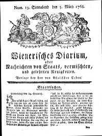 Titelseite der Ausgabe Nr. 19, 5. März 1768
