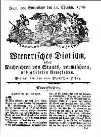 Titelseite der Ausgabe Nr. 99, 10. Dezember 1768