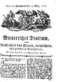 Titelseite der Ausgabe Nr. 20, 9. März 1771