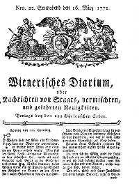 Titelseite der Ausgabe Nr. 22, 16. März 1771