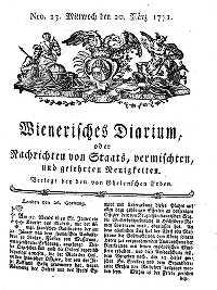 Titelseite der Ausgabe Nr. 23, 20. März 1771