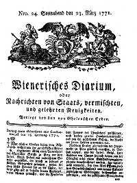 Titelseite der Ausgabe Nr. 24, 23. März 1771