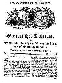 Titelseite der Ausgabe Nr. 25, 27. März 1771