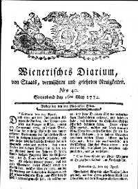 Titelseite der Ausgabe Nr. 40, 16. Mai 1772
