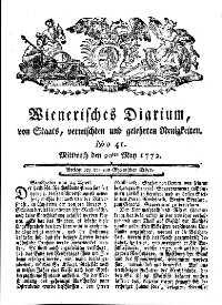 Titelseite der Ausgabe Nr. 41, 20. Mai 1772
