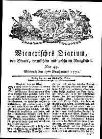 Titelseite der Ausgabe Nr. 49, 17. Juni 1772