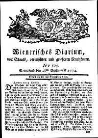 Titelseite der Ausgabe Nr. 104, 26. Dezember 1772