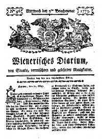 Titelseite der Ausgabe Nr. 46, 9. Juni 1773