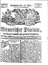 Titelseite der Ausgabe Nr. 22, 18. März 1775