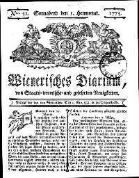 Titelseite der Ausgabe Nr. 52, 1. Juli 1775
