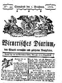 Titelseite der Ausgabe Nr. 44, 1. Juni 1776