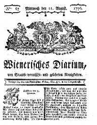 Titelseite der Ausgabe Nr. 67, 21. August 1776
