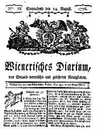 Titelseite der Ausgabe Nr. 68, 24. August 1776