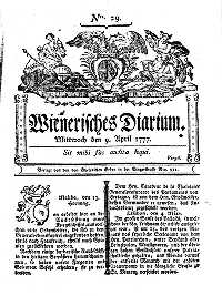 Titelseite der Ausgabe Nr. 29, 9. April 1777