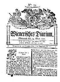 Titelseite der Ausgabe Nr. 39, 14. Mai 1777