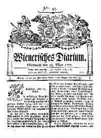 Titelseite der Ausgabe Nr. 43, 28. Mai 1777