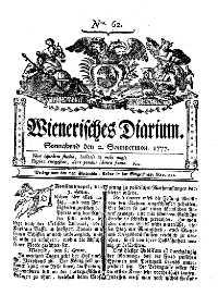 Titelseite der Ausgabe Nr. 62, 2. 1777