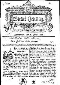 Titelseite der Ausgabe Nr. 1, 1. Jänner 1780