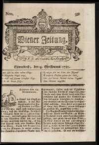 Titelseite der Ausgabe Nr. 99, 9. Dezember 1780