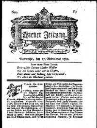 Titelseite der Ausgabe Nr. 83, 17. Oktober 1781
