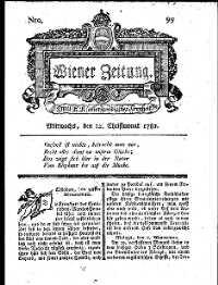 Titelseite der Ausgabe Nr. 99, 12. Dezember 1781