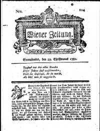 Titelseite der Ausgabe Nr. 104, 29. Dezember 1781