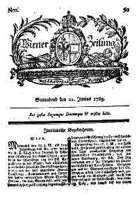 Titelseite der Ausgabe Nr. 50, 21. Juni 1783