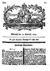 Titelseite der Ausgabe Nr. 73, 10. September 1783