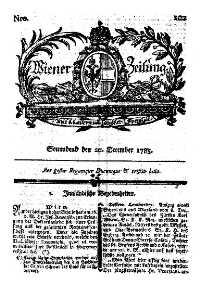 Titelseite der Ausgabe Nr. 102, 2. Dezember 1783
