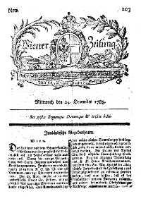 Titelseite der Ausgabe Nr. 103, 24. Dezember 1783