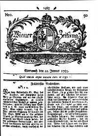 Titelseite der Ausgabe Nr. 50, 22. Juni 1785