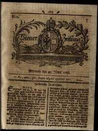 Titelseite der Ausgabe Nr. 7, 25. Jänner 1786