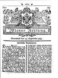 Titelseite der Ausgabe Nr. 73, 12. September 1789