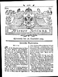 Titelseite der Ausgabe Nr. 74, 16. September 1789