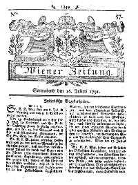 Titelseite der Ausgabe Nr. 57, 16. Juli 1791