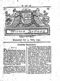 Titelseite der Ausgabe Nr. 18, 3. März 1792