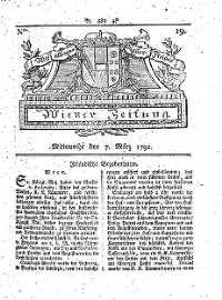 Titelseite der Ausgabe Nr. 19, 7. März 1792
