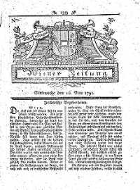 Titelseite der Ausgabe Nr. 39, 16. Mai 1792